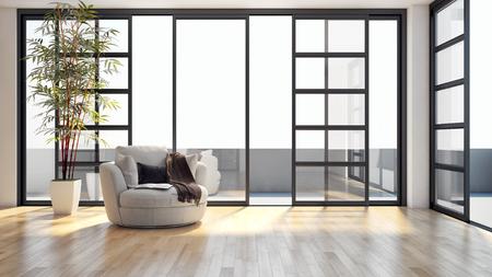 Modern, licht interieur. 3d teruggegeven illustratie Stockfoto