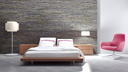 Modern bright bed room, interiors. 3d rendered illustration Stock Photo