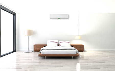 Modern bright room with air conditioning, interiors. 3d rendered illustration Stock Photo