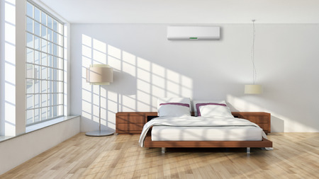 Modern bright room with air conditioning, interiors. 3d rendered illustration Banco de Imagens