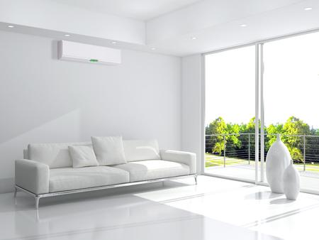 현대 밝은 인테리어와 에어컨, 3d 렌더링 된 그림 스톡 콘텐츠