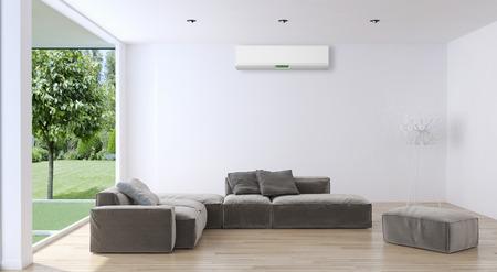 現代的な明るいインテリア、エアコン、3 d のイラスト、 写真素材