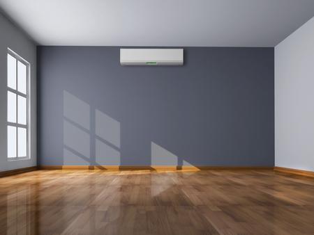 La stanza vuota luminosa moderna con il condizionamento d'aria 3D ha reso l'illustrazione