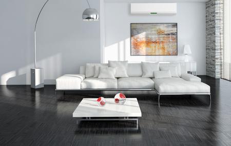 Moderno interior brilhante com ar condicionado, ilustração renderizada 3d Foto de archivo - 90181718
