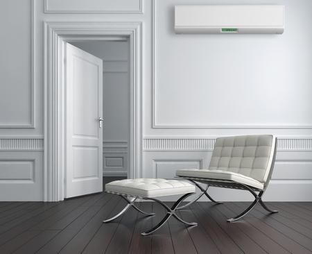 Moderno interior brilhante com ar condicionado, ilustração renderizada 3d