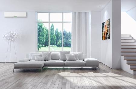 Modern helder binnenland met airconditioning, 3d teruggegeven illustratie