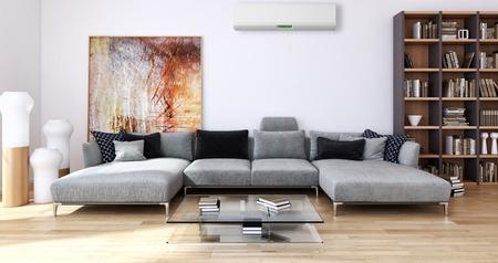 Modern helder binnenland met airconditioning, 3d teruggegeven illustratie Stockfoto - 90359151