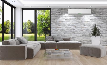 L'interno luminoso moderno con aria condizionata, 3d ha reso l'illustrazione