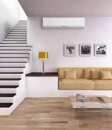 エアコン付きモダンな明るいインテリア、3Dレンダリングイラスト