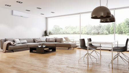 Modern bright interiors. 3d rendered illustration