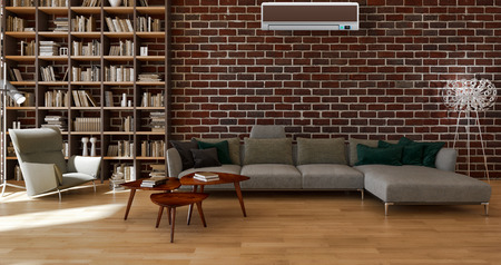 Modern bright interior with air conditioning, 3d rendered illustration