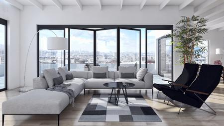 Modernes helles Interieur . 3d übertrug Illustration Standard-Bild - 90326710