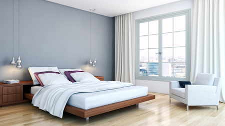Modern bright interiors. 3d rendered illustration Stock Illustration - 90302097