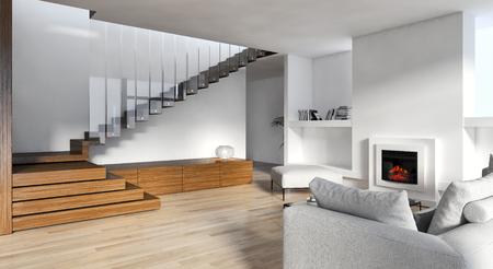 Intérieurs lumineux modernes. Illustration de rendu 3D Banque d'images - 90397007