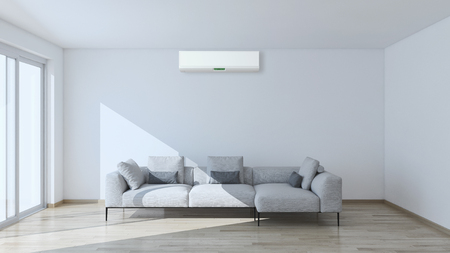 Modern bright interior with air conditioning 3D rendering illustration Archivio Fotografico