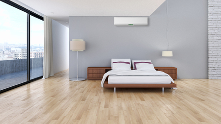 Modern bright room with air conditioning, interiors. 3d rendered illustration Archivio Fotografico