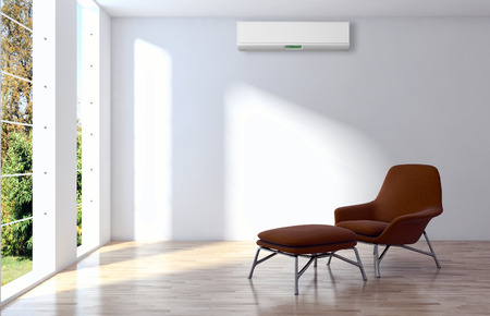 Modern bright interior with air conditioning 3D rendering illustration Stock Photo