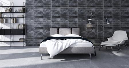 Modern bright bed room interiors 3D rendering  illustration Фото со стока