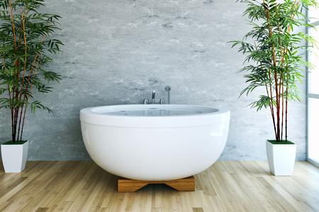 Modern bright bathroom interiors 3D rendering  illustration