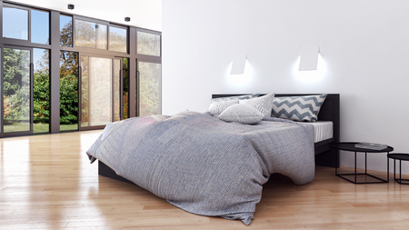 Modern bright bed room interiors 3D rendering  illustration Stock Photo
