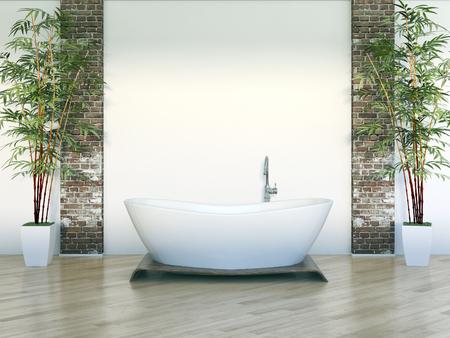 Modern bright bathroom interiors 3D rendering illustration Banco de Imagens