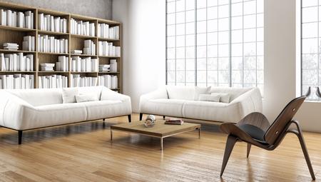 Ilustración de renderizado 3D modernos interiores brillantes