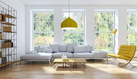 Modern bright interiors 3D rendered illustration
