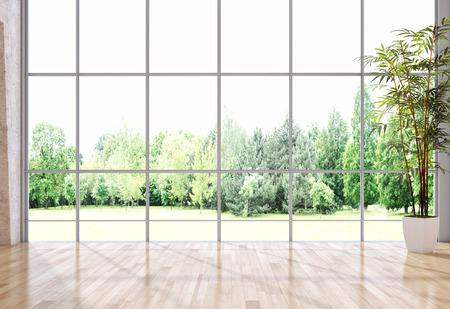 Modern bright interiors empty room 3D rendering  illustration