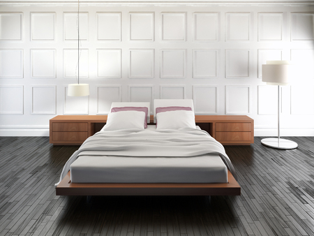 Modern bright bed room interiors 3D rendering illustration Banco de Imagens - 91031164