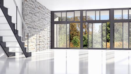 Modern bright interiors 3D rendering  illustration Reklamní fotografie