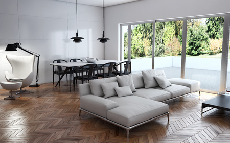 Modern bright interiors 3D rendering illustration Banco de Imagens - 91678034