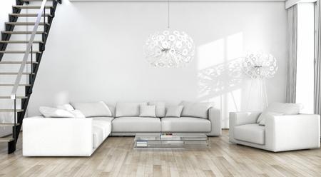 Modern bright interiors 3D rendering illustration Banco de Imagens - 91678035