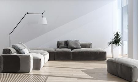 Modern bright interiors 3D rendering illustration Banco de Imagens - 91678183
