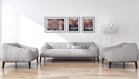Modern bright interiors 3D rendering  illustration Banco de Imagens