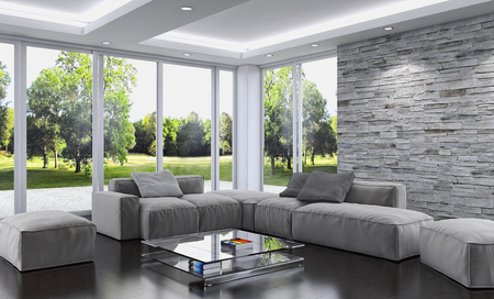 Modern bright interiors 3D rendering  illustration Stock Photo
