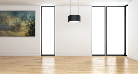 Modern bright interiors empty room 3D rendering illustration