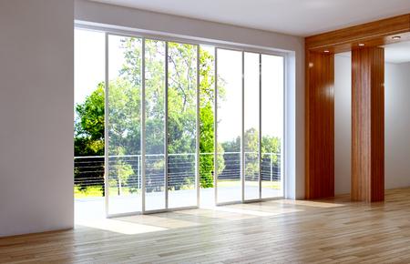 モダンな明るいインテリア空の部屋3Dレンダリングイラスト