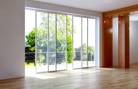 Modern bright interiors empty room 3D rendering illustration Zdjęcie Seryjne - 93317103