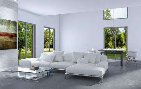 Modern bright interiors 3D rendering illustration