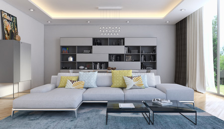 Modern bright interiors 3D rendered illustration