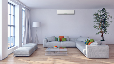 Modern interior with air conditioning 3D rendering illustration Stock fotó