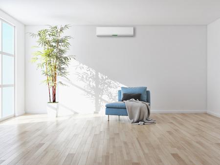 Moderne Innenwohnung mit Wiedergabeillustration der Klimaanlage 3D