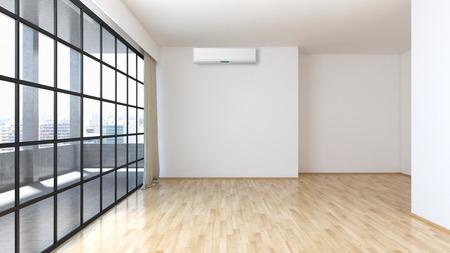 Modern bright interiors room 3D rendering illustration Stock Photo