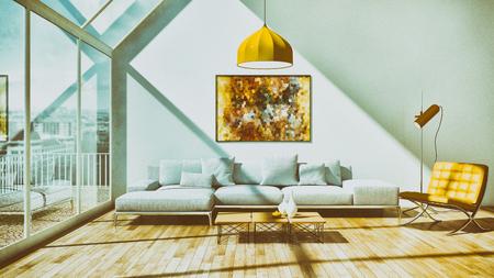 Modern bright interiors room 3D rendering illustration Banque d'images