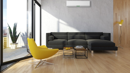 Modern interior apartment with air conditioning 3D rendering illustration