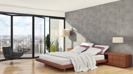 Modern bright bed room interiors 3D rendering illustration