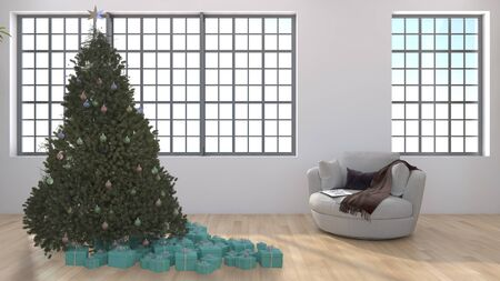 modern bright interiors living room with Christmas tree 3D rendering illustration