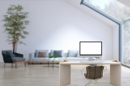 Workplace mockup concept. Mock up modern home decor desktop computer Artist workspace with copy space for products display montage.Mockup desktop. Stockfoto
