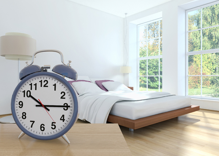 illustration 3D analog alarm clock on side table in large luxury modern bright, Time of day, interiors room  rendering computer generated image not photos and not private property