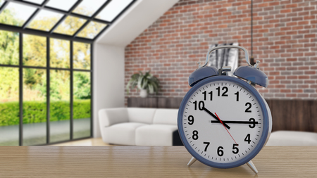 illustration 3D analog alarm clock on side table in large luxury modern bright, Time of day, interiors room  rendering computer generated image not photos and not private property 스톡 콘텐츠 - 112650990